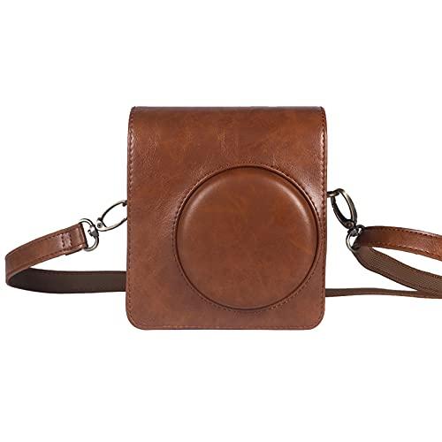 PIGMANA Schutzhülle, für Mini 40 Neo Classic Sofortbildkamera - Premium Ledertasche mit abnehmbarem Trageriemen, Vintage Braun Schwarz Regular