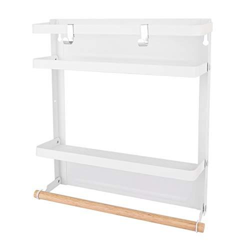 Estante de refrigerador magnético Estante de almacenamiento colgante Estante de almacenamiento de cocina magnético Organizador de refrigerador Soporte de pared Organizador Soporte(white)