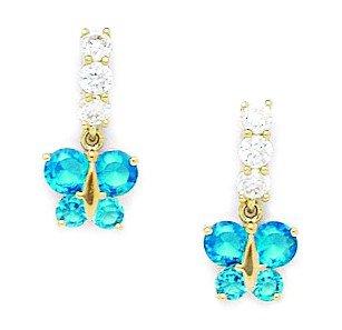 14 Karat (585) Gelbgold, mit Zirkonia-Schmetterling Blau Sterling-Silber 925 Schraubverschluss Ohrringe-Maße: 15 cm x 8 mm