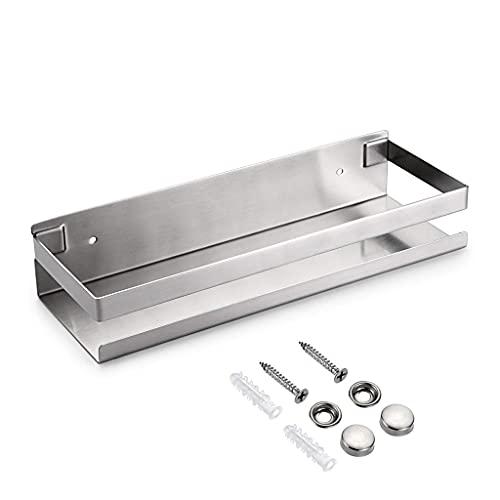 Melodip Estante para baño, estante de ducha, estante de cocina de acero inoxidable 304 sin perforación, estante de pared duradero para cocina, baño (30 cm, plateado)