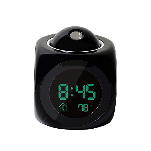 QYYL Reloj Despertador de Proyección, Reloj Despertadores Digitales, Termómetro Interior, Temporizador de Apagado,Adecuado para Dormitorio (Negro/Blanco) (Black)