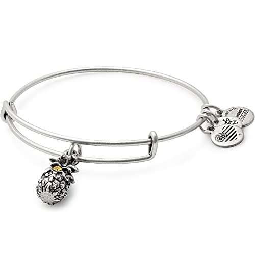 Alex and Ani Path of Symbols Expandable Bangle for Women, Pineapple Charm, Rafaelian Silver Finish, 2 to 3.5 in