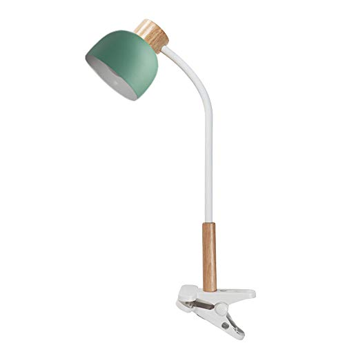 LANMOU Lámpara Lectura de Madera con Flexo Pinza LED, Alimentación USB Lámpara de Escritorio LED 3 Niveles de Brillo 360° Cuello Flexible Lampara Pinza para Trabajo,Verde