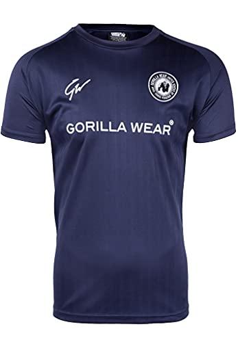 Gorilla Wear - Stratford T-Shirt - blau - Bodybuilding Sport Alltag Freizeit mit Logo Aufdruck leicht und bequem für optimale Bewegung aus Polyester, L