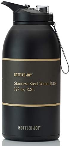 BOTTLED JOY 1 Gallon Water Bottle with Straw 128oz Dual Lid Stainless Steel Water Bottle Double product image