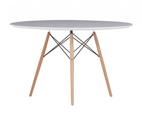 Oui Home - Mesa Comedor o Cocina Redonda Blanco Brillo Tower Wood/Blanca 120
