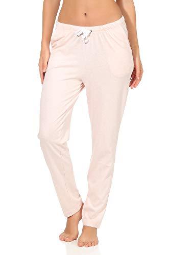 NORMANN WÄSCHEAPE Dames pyjama broek lang, effen - Mix & Match - perfect om te combineren, 291 222 90 902, Kleur: roze, Maat 2:44/46