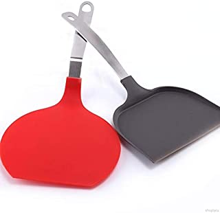 GGJIN Stainless Steel Pizza Spatula With Handle Cake Transfer Shovel Kitchen Cooking Utensils (Color : Red)