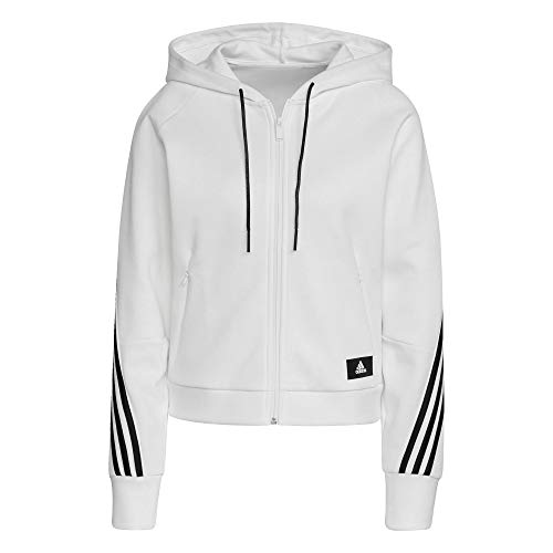 adidas Damen W FI 3S FZ HD Kapuzenschiene oben, White/Black, M