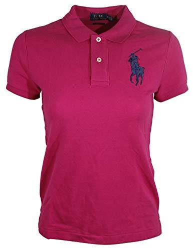 Polo Ralph Lauren Womens Skinny Big Pony Polo (Small, Pink (Navy Pony))