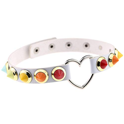 fangfangfang908 Harajuku Personality Herz Halsband, Candy-Color, Halskette, Schlüsselbein, Weißes...