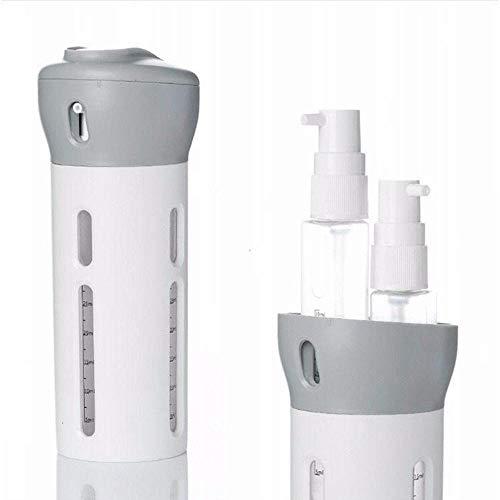 Volwco Lot de 4 flacons de Voyage Rechargeables Anti-Fuite avec étiquettes, Distributeur de Liquide/Lotion/shampoing Gris