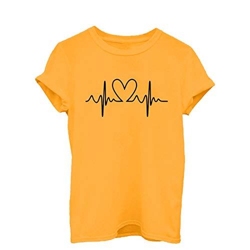 sunnymi Camisetas para mujer, moda informal, estampadas, cuello redondo, manga corta Yellow-a. XL