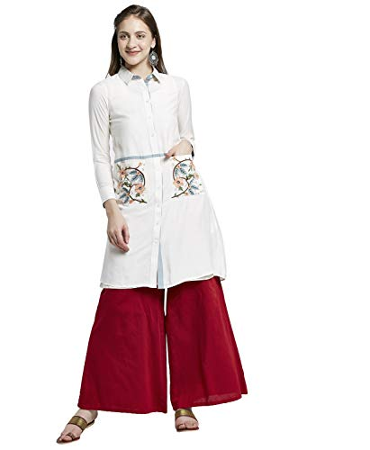 Morpankh by FBB by Shruti Sancheti Kurta with Embroidered Pockets Ivory