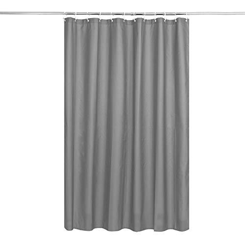 Duschvorhang-Liner, robuster Stoff, massiver Badezimmer-Duschvorhang mit Haken, gewichteter Saum, Polyester, wasserdicht, 183 x 190 cm, mit 12 Haken, Silbergrau
