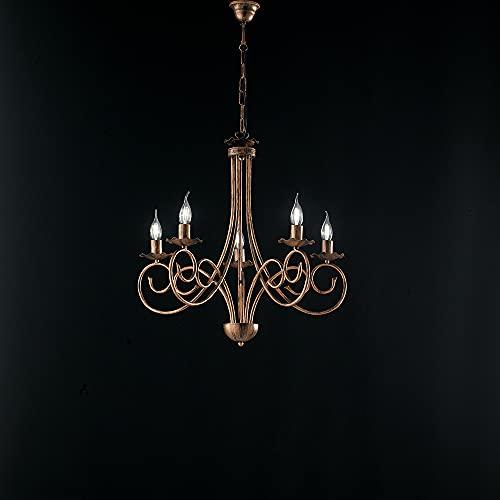 Lámpara provenzal Candelabro 5 luces hierro forjado negro y cobre Serie Alma