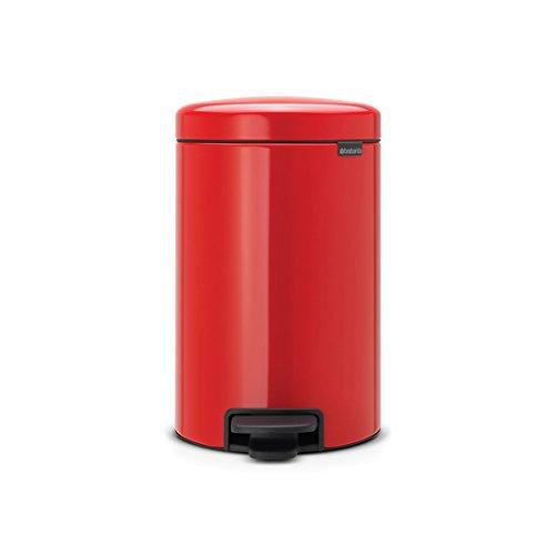 Brabantia Treteimer mit Inneneimer aus Kunststoff, stahl, Passion Rot, 12 Liter