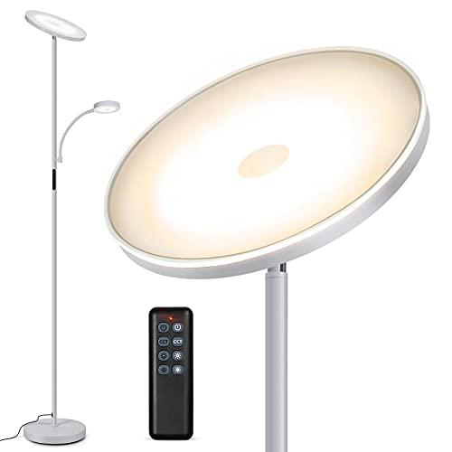 Outon Stehlampe LED Dimmbar, Deckenfluter 27W mit 7W Leselampe, 2400+400LM, 4 Farbtemperaturen, Fernbedienung Touch Steuerung, 1H Timer, Stehleuchte für Wohnzimmer, Schlafzimmer, Büro, Silber Grau