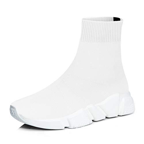 RoseG Herren Damen Mode Sliper Schuhe Unisex Leichte Atmungsaktive Sneakers Outdoor Turnschuhe Weiß/Weiß Size38