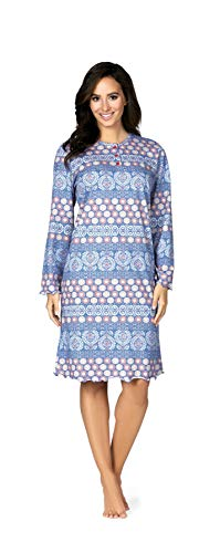 Comtessa Premium 182232 Damen Nachthemd Knopfleiste 100% Baumwolle Sky Blue 48-50 XL