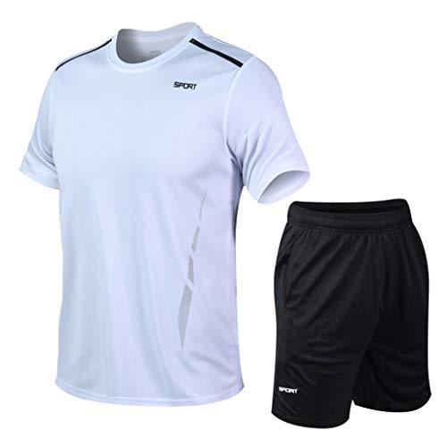 BALABA❥Men's Quick-Dry Sport Short Sleeve T-Shirt+Elastic Shorts Set Running Jogging Athletic Sport Outfits Tracksuit