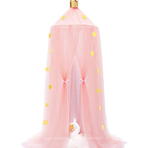 Dix-Rainbow Bed Canopy Yarn Play Tent Bedding for Kids Playing Reading with Children Round Lace Dome Netting Curtains Baby Boys and Girls Games House - Pink