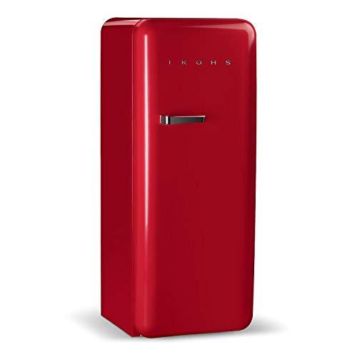 IKOHS Retro Fridge - Frigorífico con diseño, Control de Temperatura Ajustable, Estantes Intercambiables, Estética Vintage de los años 50, Clase Energética A+ (Rojo, 150 cm)