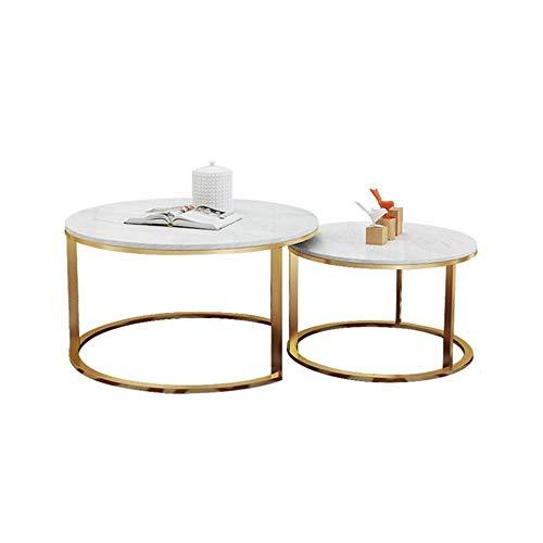 GAOLIM Moderne runde Nesting Couchtische , Beistelltisch für Wohnzimmer und Büro, 2er-Set, Marmortischplatte mit Goldfuß