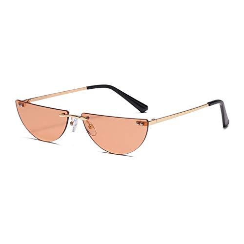 ZZOW Gafas De Sol Sin Montura Semirredondas Pequeñas De Moda para Mujer, Gafas De Sol Clásicas con Lentes Transparentes para El Océano, Gafas De Sol para Hombre, Sombras Uv400