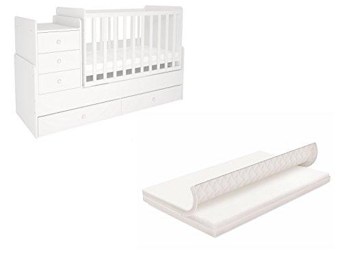 Polini Kids Set Kinderbett mitwachsend mit Kommode und Matratze Mitwachsendes Baby- bzw. Kinderbett mit Kommode mit Matratze