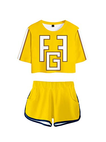 GuliriFe Mi hroe Academia Bakugou Katsuki Cosplay Disfraz animadora Uniform Crop Top Shorts Set amarillo S