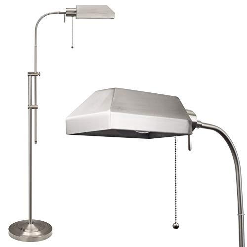 Kira Home Prescott 58' Modern Adjustable Standing Pharmacy Floor Lamp | Brushed Nickel Finish, Includes 6W LED Bulb (60W eq.) Energy Efficient, Eco-Friendly, for Living Room Reading Bedroom Office