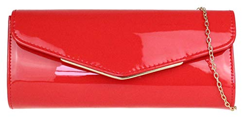 Girly Handbags Pequeño marco brillante bolso de embrague - Rojo