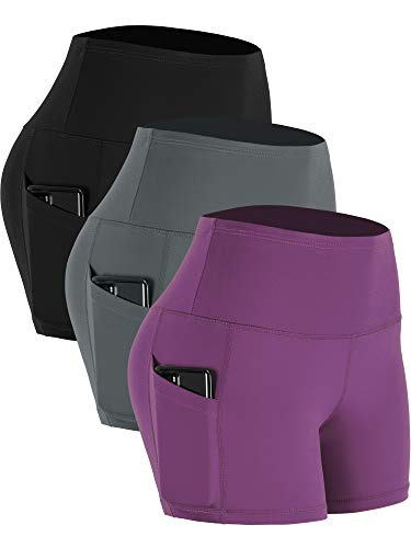 Cadmus Women's High Waist Stretch Yoga Short,3 Pack,16#,Grey & Black & Purple,Medium