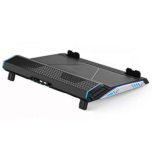 KSDCDF Alfombra de enfriamiento 5 Ventiladores de hasta 17.3 Pulgadas de Cuaderno Pesado Enfriador, Luces LED Azules, 2 Puertos USB