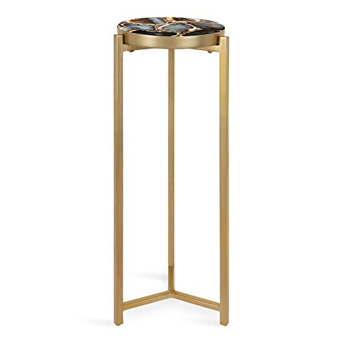 Kate and Laurel Aguilar Glam Drink Table, 8' x 8' x 23', Gold, Transitional Tea Table and Plant...