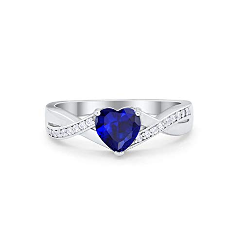 Infinity Knot Heart Promise Ring Simulated Blue Sapphir 925 Sterling Silver, Size-7