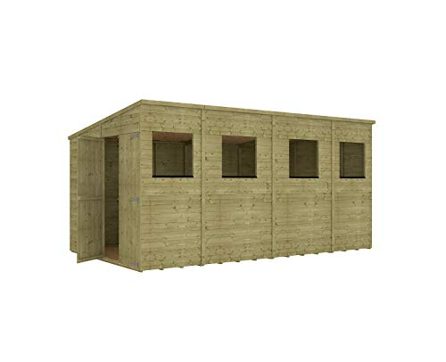 Project Timber 14 x 8 Pressure Treated Hobbyist Extra Tall Pent Windowed Garden Shed Doors in Gable with OSB Floor 4.26m x 2.43m