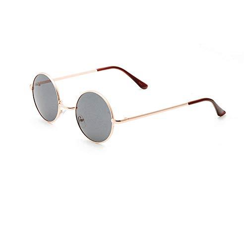 Hippie-Vintage-Sonnenbrillen von Unisex - Anti-UV-Retro-Übergroße runde Brillen(Gelber Rahmen mit grauen Harzlinsen)