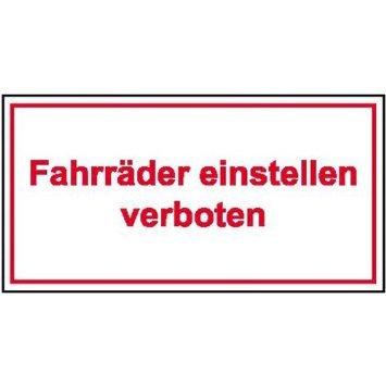 INDIGOS UG - Fahrräder einstellen verboten Hinweisschild, Alu-Dibond 25x15 cm - Warnung - Sicherheit - Hotel, Firma, Haus