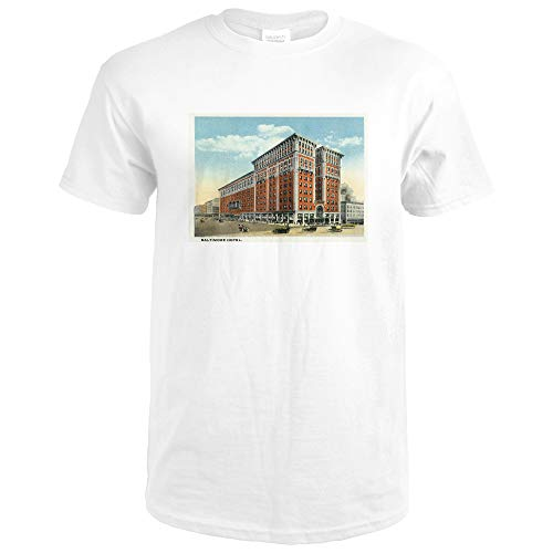 Kansas City, Missouri - Exterior View of the Baltimore Hotel 35915 (Premium White T-Shirt XX-Large)