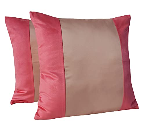 Set of 2 - Elegant Faux Suede & Satin Decorative Throw Pillow Cover - 18 x 18 Inch - Peach - by Craftbot - Insert Not Included