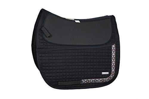 EQUINOS Schabracke Schwarz mit polsterbaren Taschen für baumlose Sättel und Fellsättel