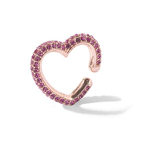 Fashion Multicolor CZ Small Heart Shape Clip Earrings for Woman Trendy Geometry Crystal Non Pierced Ear Cuff Charm Jewelry,Rosegold-Rosemary