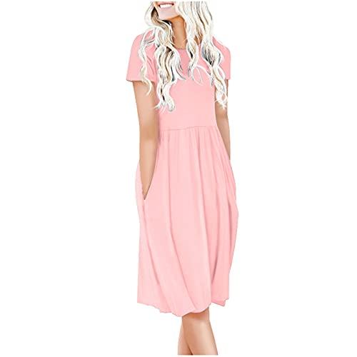 YXIU Vestido de mujer de manga corta, monocolor, cuello redondo, cintura alta, camiseta de manga corta, camiseta de verano, holgada. Rosa. L