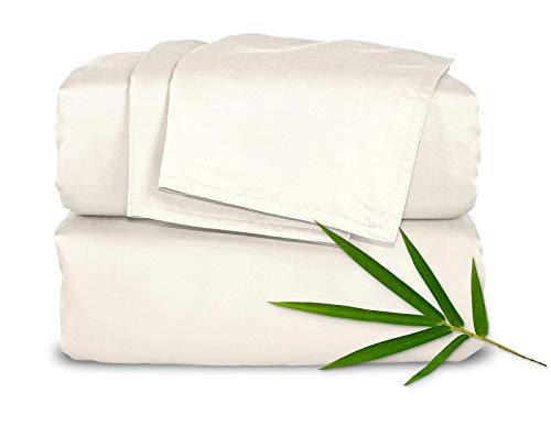 Pure Bamboo Sheets - Queen Size Bed Sheets 4pc Set - 100% Organic Bamboo - Incredibly Soft - Fits Up to 16' Mattress - 1 Fitted Sheet, 1 Flat Sheet, 2 Pillowcases (Queen, Ivory)