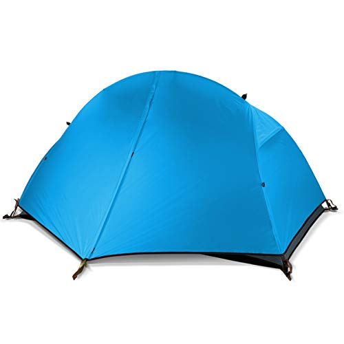 AIHOUSE Tent, 1-2 People Silicone Portable Ultralight Tent Waterproof 4000+ Tents Double Layer for Outdoor Camping Travel Tent Camping,Check fabric blue