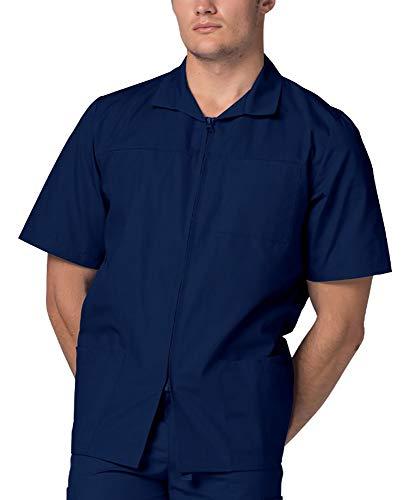 Adar Uniforms Adar Universal Scrubs For Men - Zippered Short Sleeved Scrub Jacket - 607 - Navy - 4X