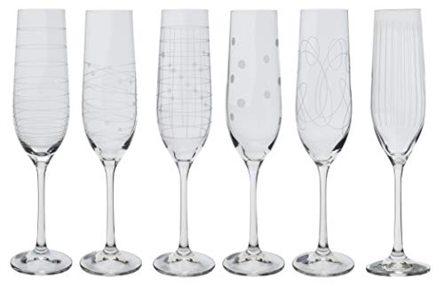 Bohemia Kristall Gläser - Elements - 6 er Set- mit verschieden Ornamenten (Sektglas 6 x 190 ml)