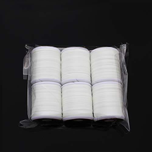 Tigofly Fliegengarn, 150 D Denier, leuchtend, 40 Meter, Polyester-Filament, 6 Stück, weiß